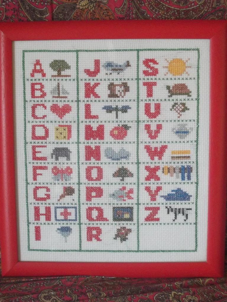 Ricamo a punto croce alfabeto incorniciato per cameretta