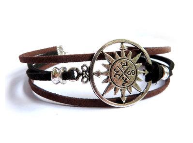 Bracciale nautico UOMO Bussola Rosa dei venti mare braccialetto pel  su MissHobby