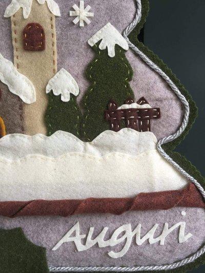 Natale  albero in feltro con paesaggio natalizio  Feste