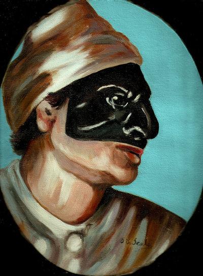 Dipinto maschera di Pulcinella olio su tela ovale  Per la casa e   su MissHobby