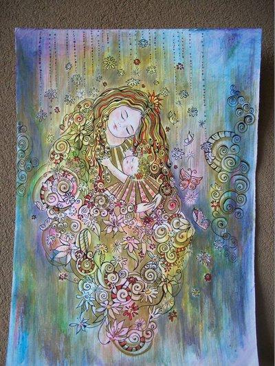 Ritratto stilizzato Madre con bimba disegno originale a