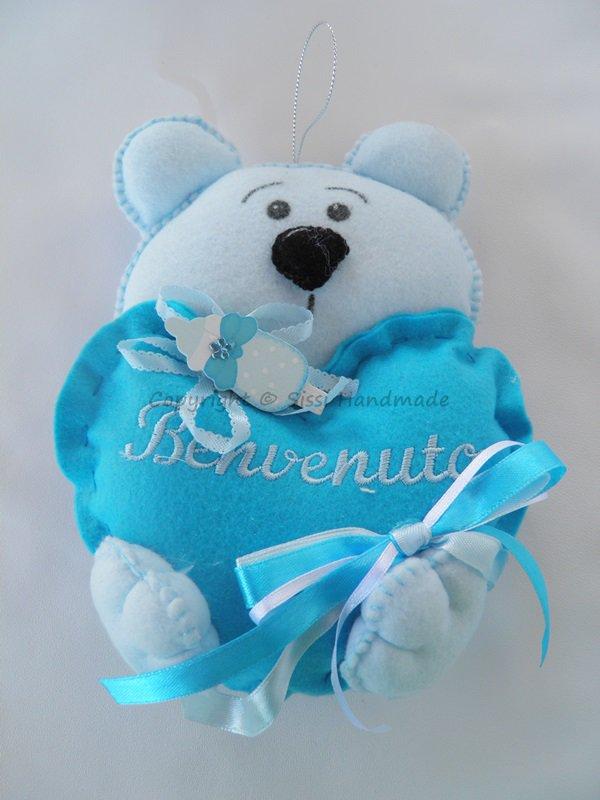 Fiocco nascita benvenuto orsetto azzurro in pannolenci  Bambini    su MissHobby