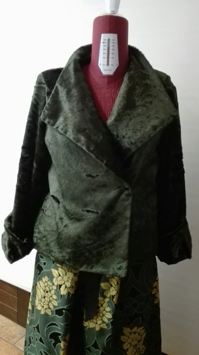 Giacca in pelliccia ecologica verde bottiglia collo dritto sormont  su MissHobby