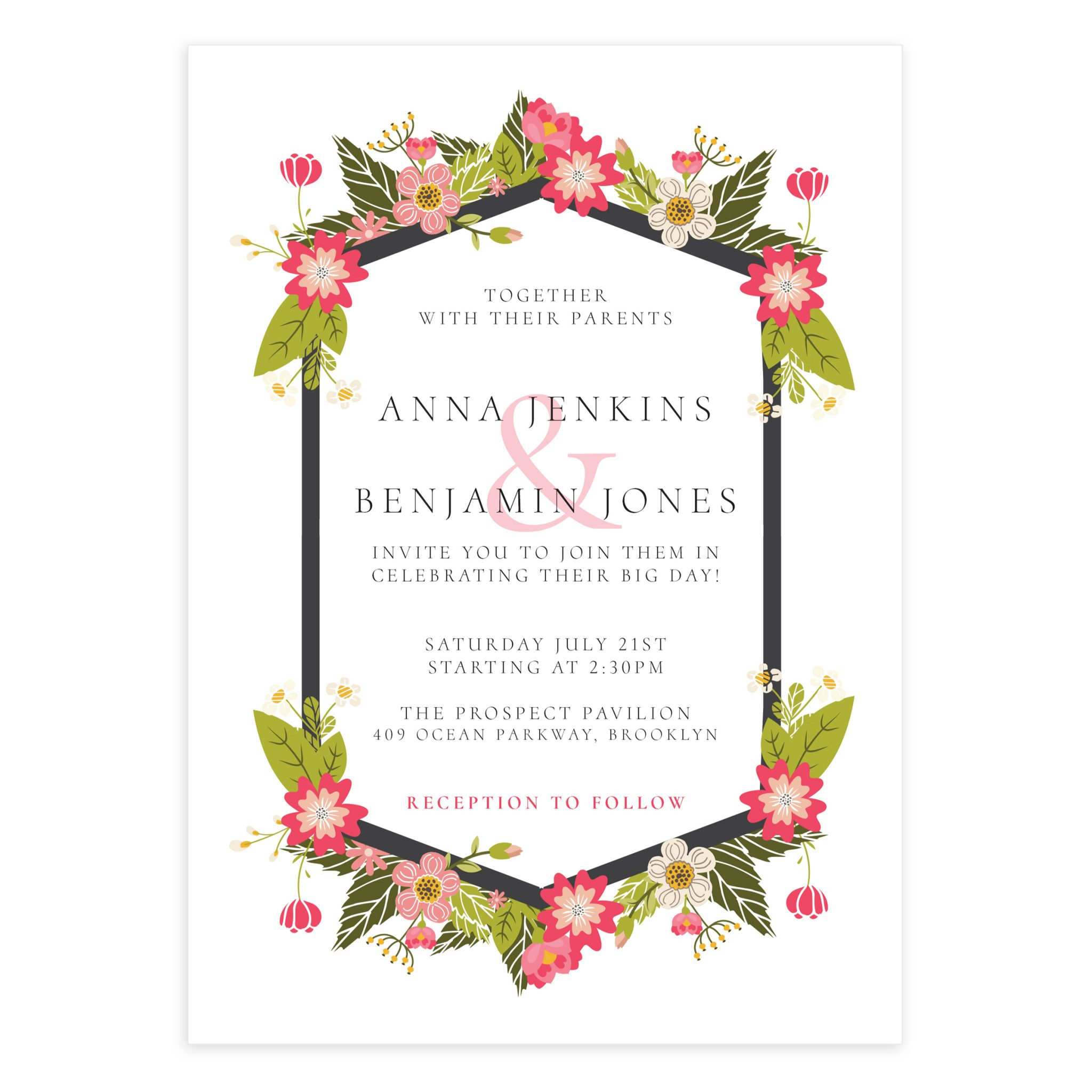 Floral Wedding Invitation Template Mockaroon