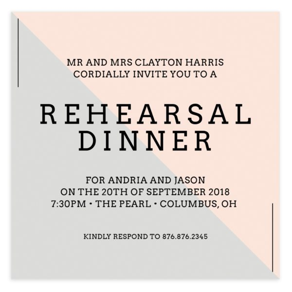 Diagonal Wedding Rehearsal Invitation 5x5