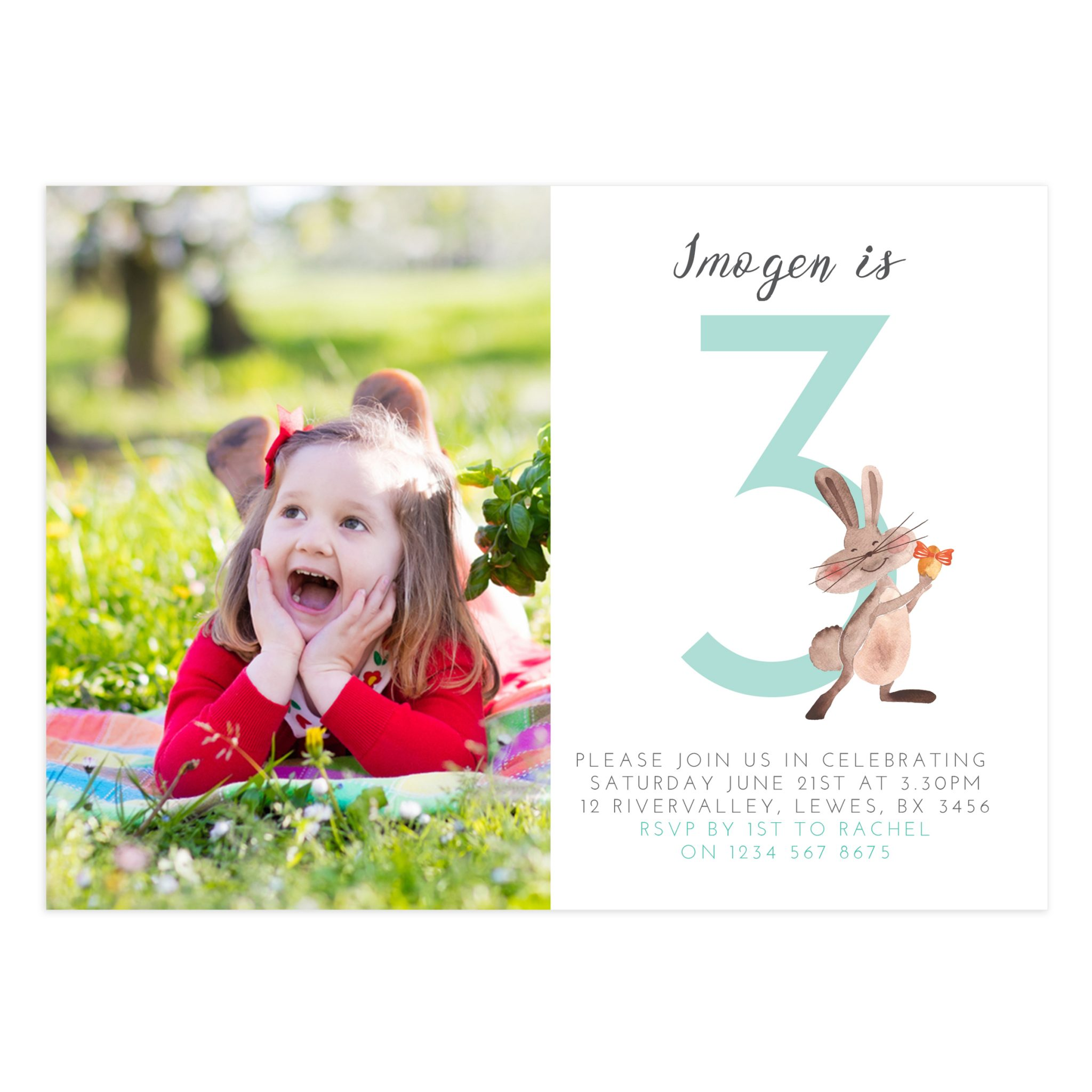 3rd birthday party invitation template 5x7