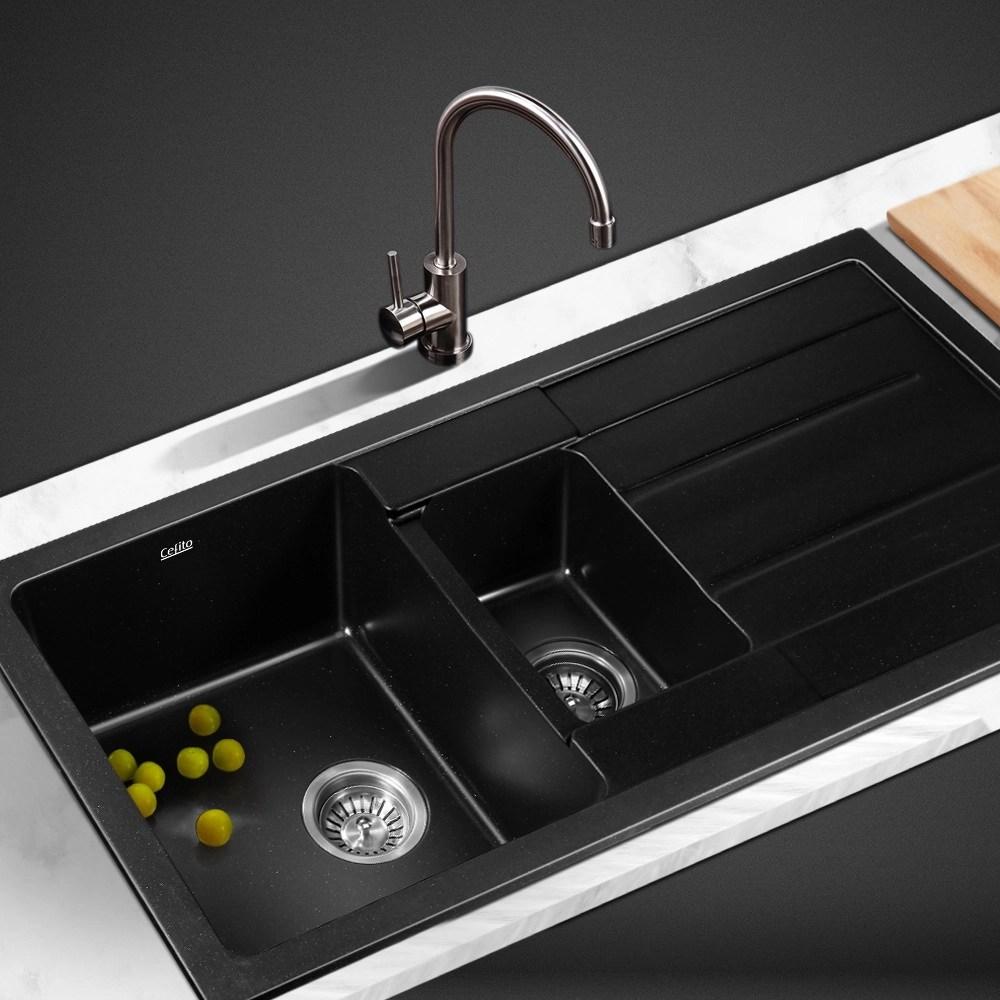 cefito stone kitchen sink 1000mm x 500mm granite under top mount black