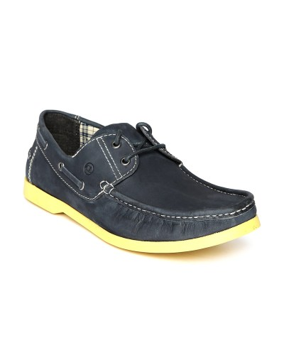 Carlton London Men Navy Leather Boat Shoes
