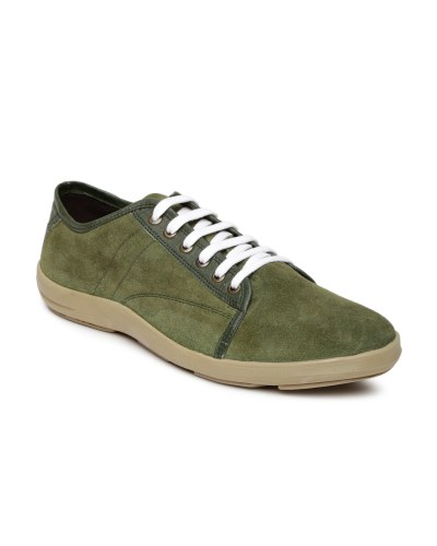 Roadster Men Olive Green Suede Casual Shoes