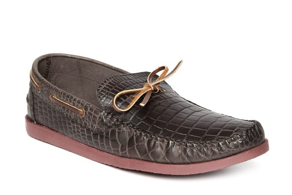 Arden by Knotty Derby Men Dark Brown Leather Boat Shoes