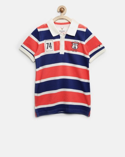 Allen Solly Junior Boys Blue & Coral Red Striped Polo T-shirt