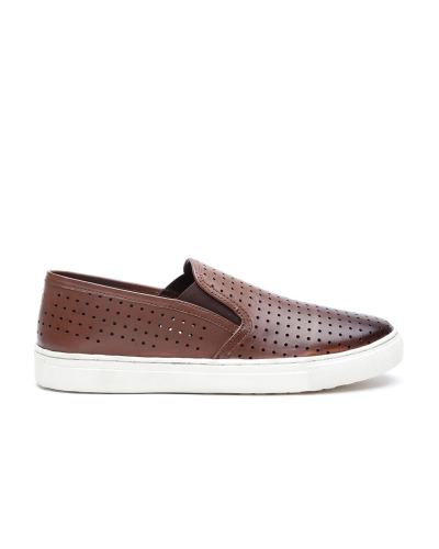 Carlton London Men Brown Leather Slip-Ons
