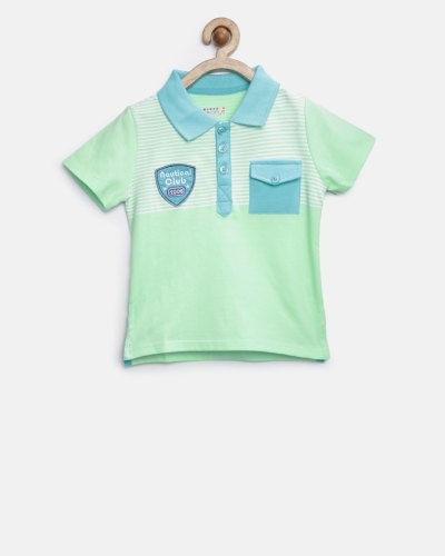 People Boys Green Striped Polo T-shirt