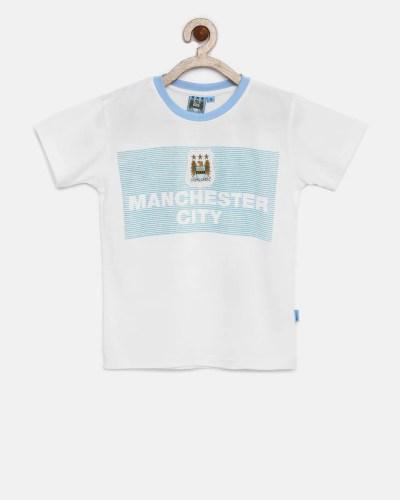 Manchester City FC Boys White Printed T-shirt