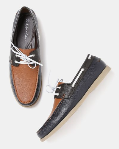 Mast & Harbour Men Brown & Navy Colourblocked Boat Shoes