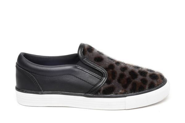 Clarks Girls Grey Animal Print Leather Sneakers