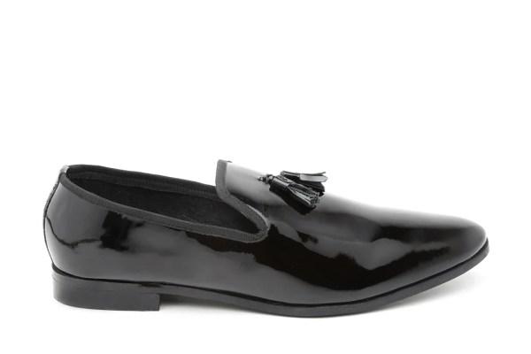 Carlton London Men Black Patent Leather Slip-Ons