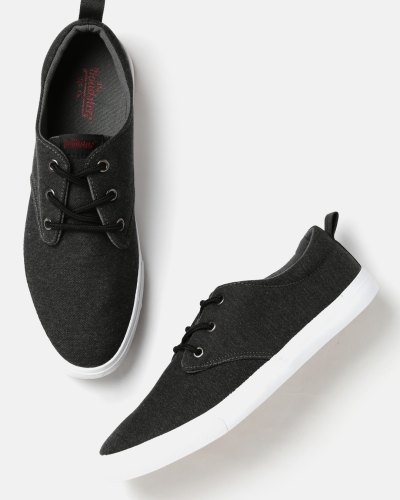 Roadster Men Charcoal Grey Solid Sneakers
