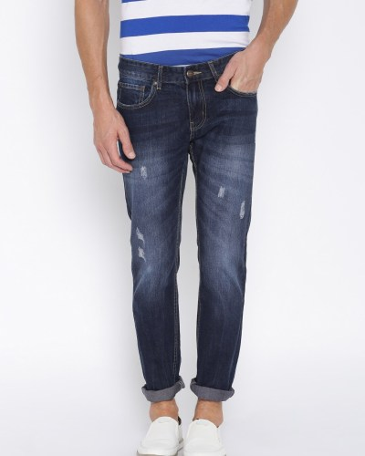 American Crew Men Blue Regular Fit Mid-Rise Mildly Distressed Jeans
