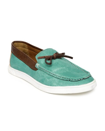 Knotty Derby Men Green & Brown Colourblocked Terry Summer Loafers
