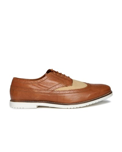 Carlton London Men Brown Perforated Regular Brogues