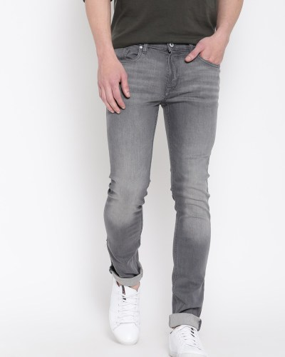 H.E. By Mango Men Grey Melange Slim Mid Rise Clean Look Jeans