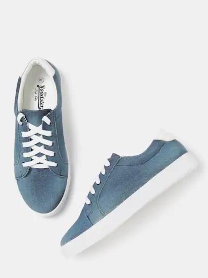 Womens Denim Slip On Sneakers