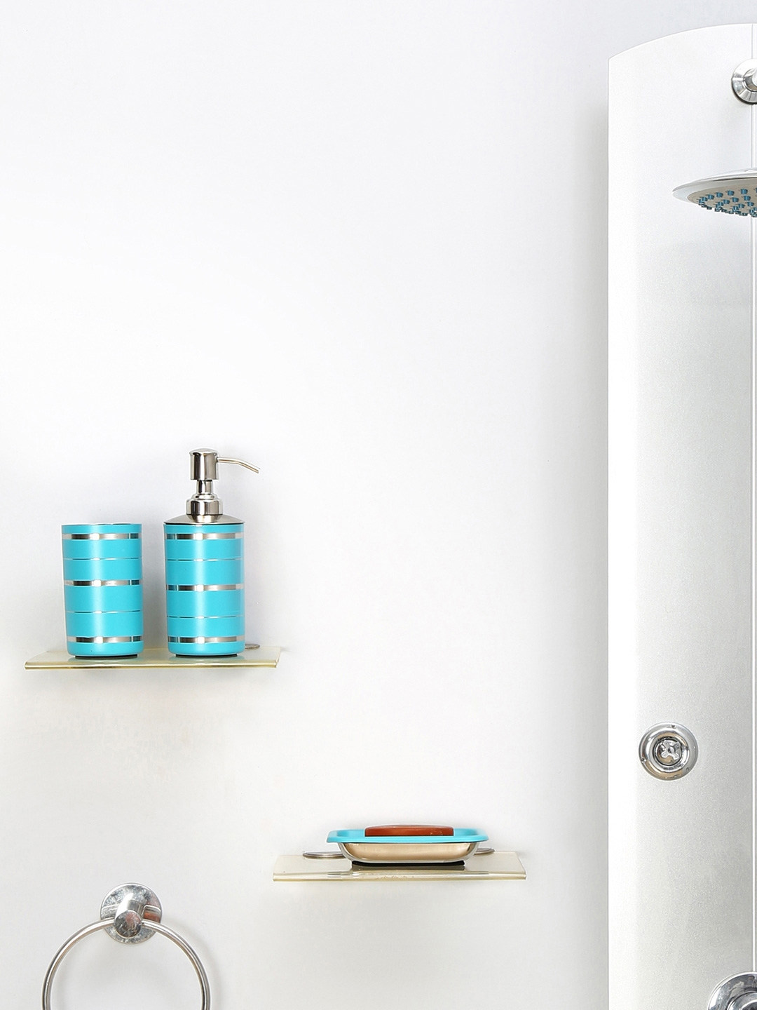 Blue Bathroom Accessories Buy Athome By Nilkamal Set Of 3 Blue Bathroom Accessories