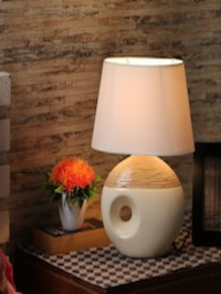 Buy House Of Accessories Beige & White Table Lamp With ...