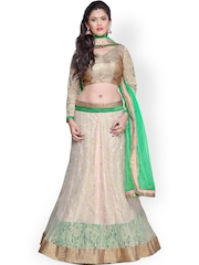 Janasya Cream-Coloured & Green Supernet Semi-Stitched Lehenga Choli
