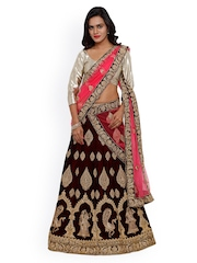 SMAYANA Brown & Gold-Toned Semi-Stitched Embroidered Lehenga Choli With Dupatta