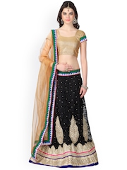 Janasya Black & Beige Supernet Embroidered Semi-Stitched Lehenga Choli