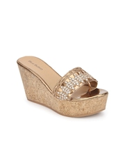 Blue Button Women Bronze-Toned Sandals