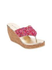 Blue Button Women Pink Sandals