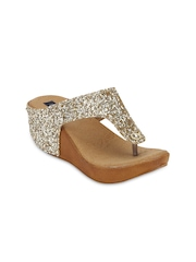 Blue Button Women Gold-Toned Wedges