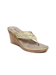 Inc 5 Women Gold Toned Wedges
