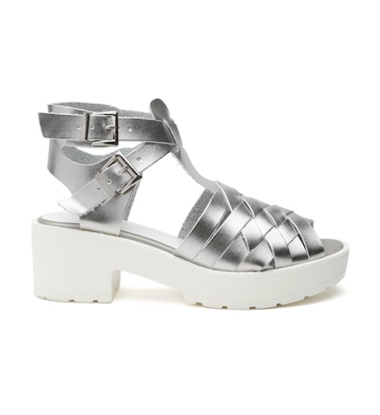 Qupid Women Silver-Toned Glossy Peep-Toed Platforms