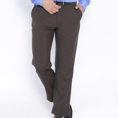 Park Avenue Dark Brown Smart Fit Formal Trousers