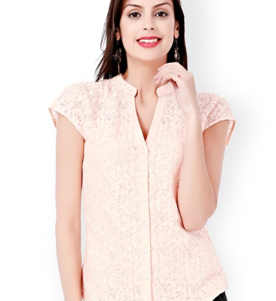 Eavan Peach-Coloured Embroidered Slim Fit Lace Shirt