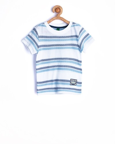 United Colors of Benetton Boys White & Navy Striped T-shirt