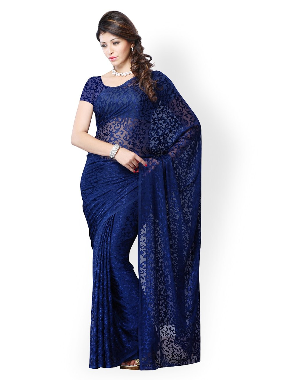 Buy Diva Fashion Navy Blue Brasso Fashion Saree - 495 ...