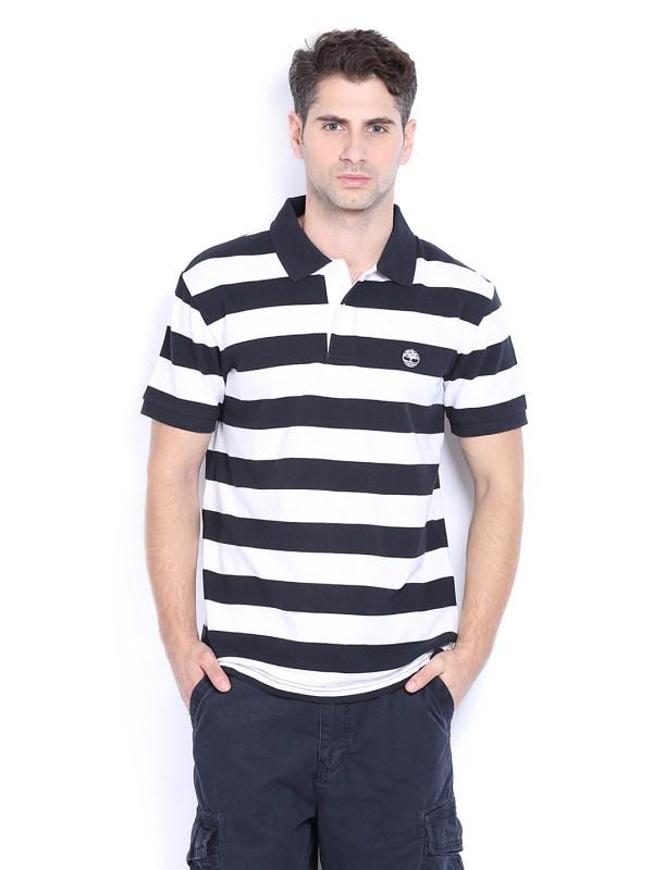 Timberland Men Black & White Striped Polo T Shirt - 2 Apparel 356694