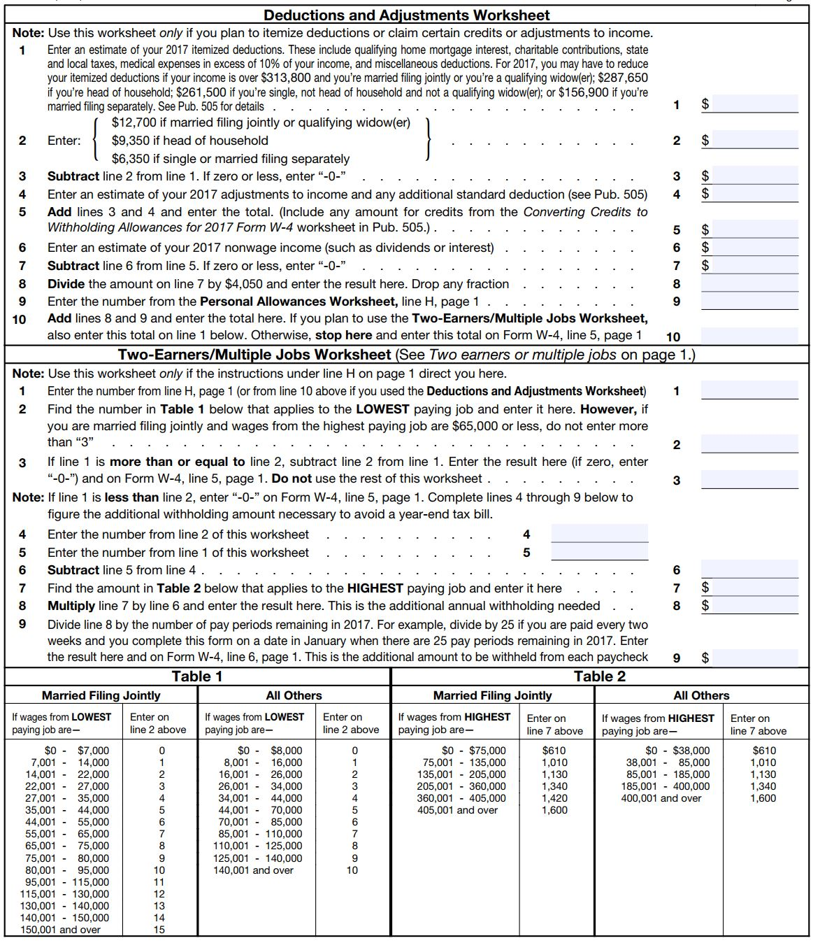 Allowances Worksheet
