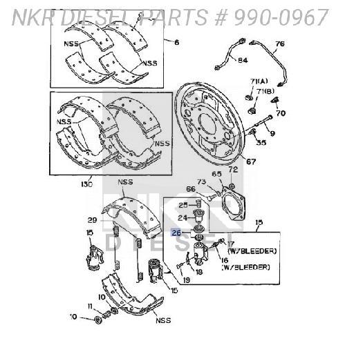 Wheel Cylinder Repair For Kit For ISUZU NRR 4BD1 3.9L 86