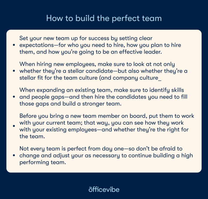 Tips on how to build the perfect team.