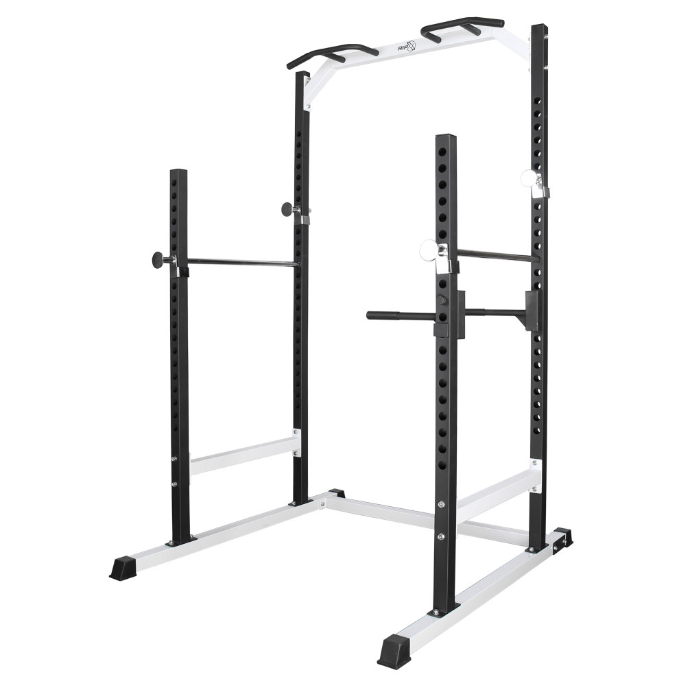 rip x heavy duty half power cage squat rack bench press pull up dip station