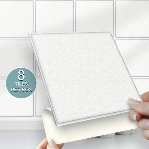 8 white solid stick on self adhesive wall tile stickers 6 x6