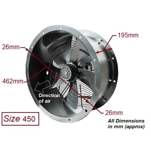 industrial commercial cased axial extractor duct fan 450mm 18 inch ventilator exhaust heavy duty powerful 240v new