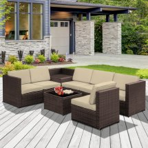 outsunny 8pcs patio rattan sofa