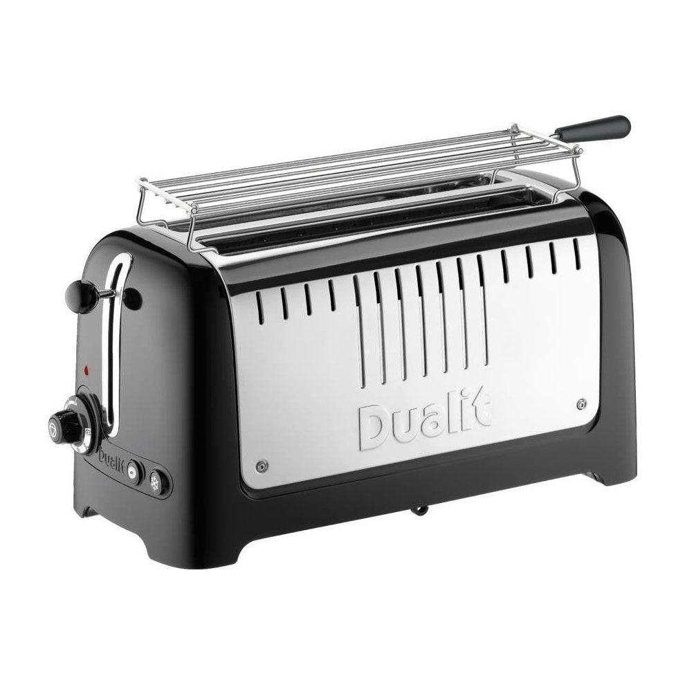 dualit lite 4 slice long slot toaster with warming rack gloss black 46025